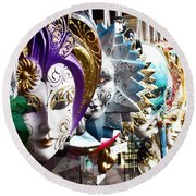Venetian Masks 1 Round Beach Towel