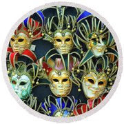 Venetian Opera Masks Round Beach Towel