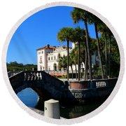 Venetian Style Bridge And Villa In Miami Round Beach Towel