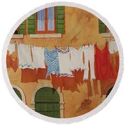 Venetian Washday Round Beach Towel