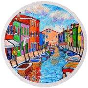 Venezia Colorful Burano Round Beach Towel