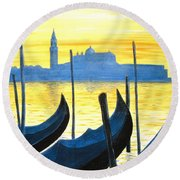 Venezia Venice Italy Round Beach Towel by Jerome Stumphauzer