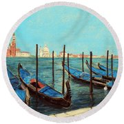 Venice Round Beach Towel by Anastasiya Malakhova