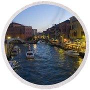 Venice At Dusk Round Beach Towel