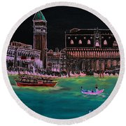 Venice At Night Round Beach Towel