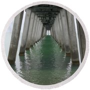 Venice Beach Pier Structure Round Beach Towel