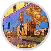 Venice Beach Posterized Round Beach Towel