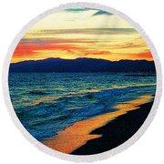 Venice Beach Sunset Round Beach Towel
