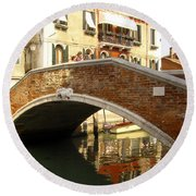 Venice Bridge Round Beach Towel
