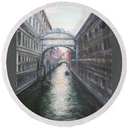 Venice Bridge Of Sighs - Original Oil Painting Round Beach Towel
