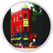 Venice Cafe' Painted And Edited Round Beach Towel