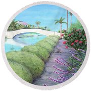 Venice California Canals Round Beach Towel