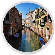 Venice Canal Round Beach Towel by Bill Cannon