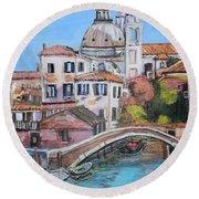 Venice Canals Round Beach Towel