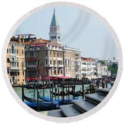 Venice Gondolas On Canal Grande Round Beach Towel