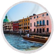 Venice Grand Canal View Italy Sunny Day Round Beach Towel