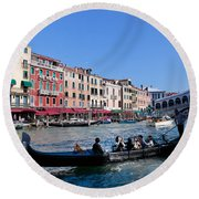 Venice Italy Gondola With Tourists Floats On Grand Canal Round Beach Towel