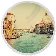Venice Italy  Grand Canal In Vintage Style Round Beach Towel