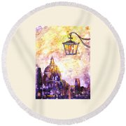 Venice Italy Watercolor Painting On Yupo Synthetic Paper Round Beach Towel