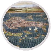 Venice: Map, 16th Century Round Beach Towel