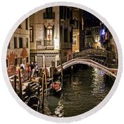 Venice Night By The Canal Round Beach Towel