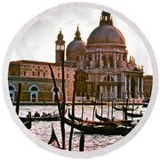 Venice The Grand Canal Round Beach Towel