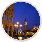 Venice Twilight Round Beach Towel