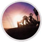 Ventura Beach Sunset Round Beach Towel
