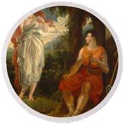 Venus And Anchises Round Beach Towel