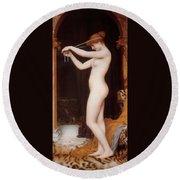 Venus Binding Her Hair Round Beach Towel