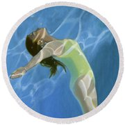 Venus Goes H2o  Round Beach Towel