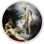 Venus Healing Aeneas Round Beach Towel
