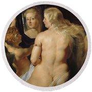 Venus In A Mirror Round Beach Towel
