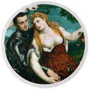 Venus Mars And Cupid Crowned By Victory Round Beach Towel