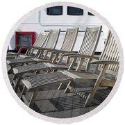 Verandah Seating 02 Queen Mary Ocean Liner Long Beach Ca Round Beach Towel