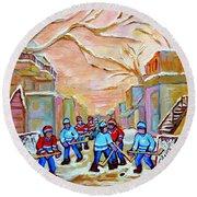 Verdun Back Lane Hockey Practice Montreal Winter City Scen Painting Carole Spandau Round Beach Towel