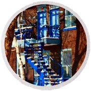Verdun Duplex Stairs With Birch Tree Montreal Winding Staircases Winter City Scene Carole Spandau Round Beach Towel
