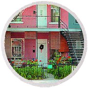 Verdun Flower Boxes Pink House Fenced Front Garden Red Flowers Staircase Scenes Carole Spandau Round Beach Towel