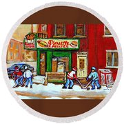 Verdun Hockey Game Corner Landmark Restaurant Depanneur Pierrette Patate Winter Montreal City Scen Round Beach Towel by Carole Spandau