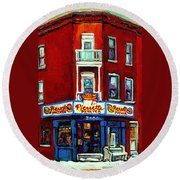 Verdun Landmarks Pierrette Patates Resto Cafe  Deli Hot Dog Joint- Historic Marquees -montreal Scene Round Beach Towel