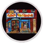 Verdun Restaurants Pierrette Patates Pizza Poutine Pepsi Cola Corner Cafe Depanneur - Montreal Scene Round Beach Towel