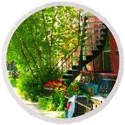 Verdun Stairs Red Flowers On Winding Staircase Tall Shade Tree Montreal Summer Scenes Carole Spandau Round Beach Towel