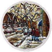 Verdun Winter Row Houses In January Montreal Paintings Time For A Walk Carole Spandau Round Beach Towel