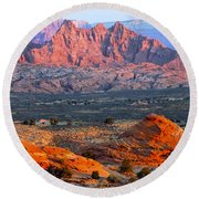 Vermillion Cliffs At Sunrise Round Beach Towel