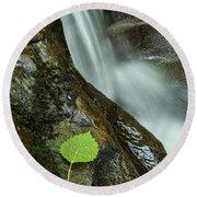 Vermont Aspen Leaf Waterfall Camels Hump Duxbury Round Beach Towel