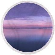 Vermont Burlington Lake Champlain Panorama Sunrise Round Beach Towel