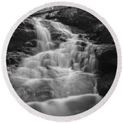 Vermont Forest Waterfall Black And White Round Beach Towel