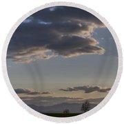 Vermont Grass Field Trees Clouds Adirondack Mountains New York Round Beach Towel