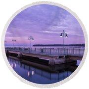 Vermont Lake Champlain Sunrise Clouds Fishing Pier Round Beach Towel
