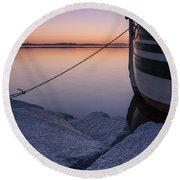 Vermont Lake Champlain Sunset Nautical Boat  Round Beach Towel